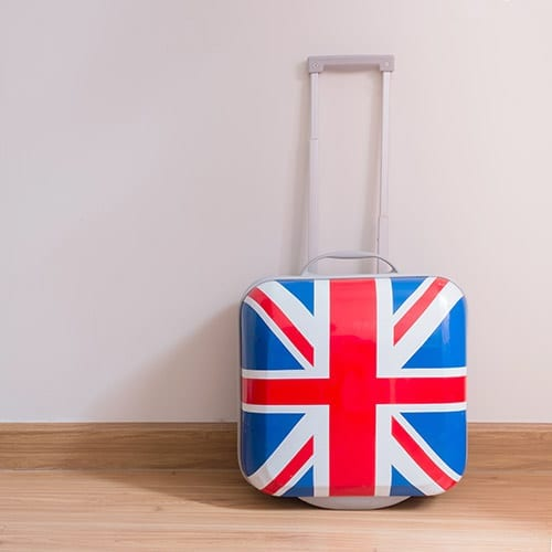 Brexit - Union Jack Suitcase Leaning Up Against Wall