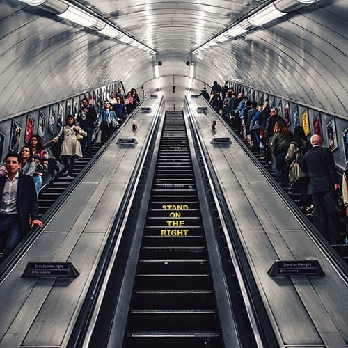 Brexit image - people arriving and leaving a tube station