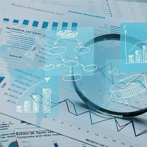 Forensic Accounting Image Graphs and data on spreadsheets
