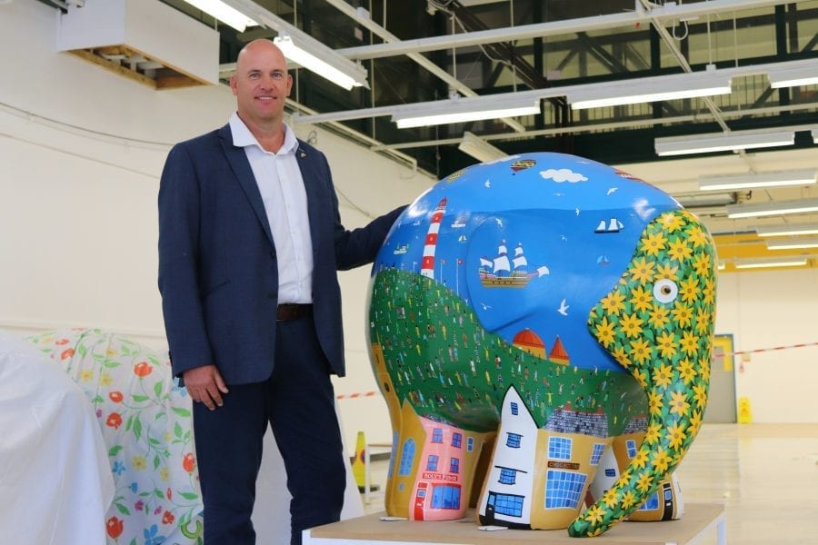 Photo Of Duncan With Colourful Elephant Model
