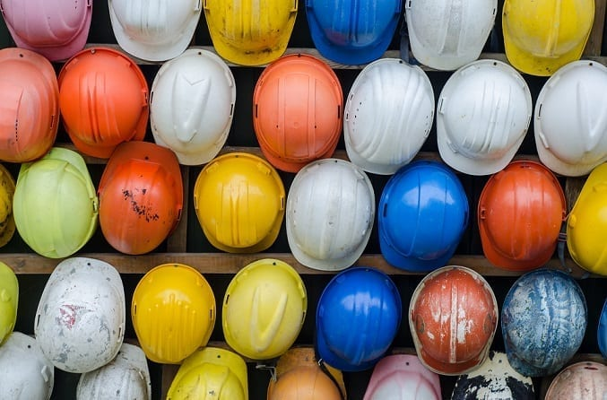 Selection Of Coloured Hard Hats