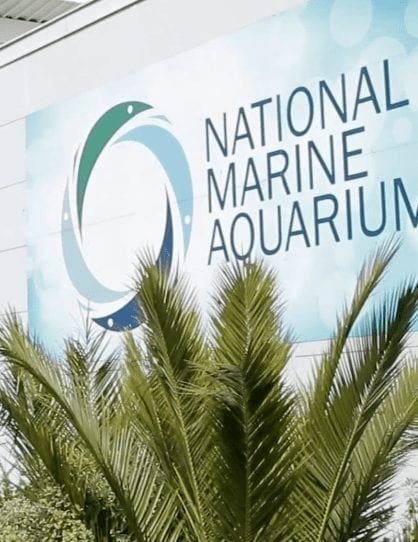 National Marine Aquarium Sign