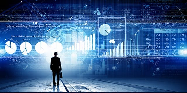 Man Walking Towards Graphical Business Chart Background
