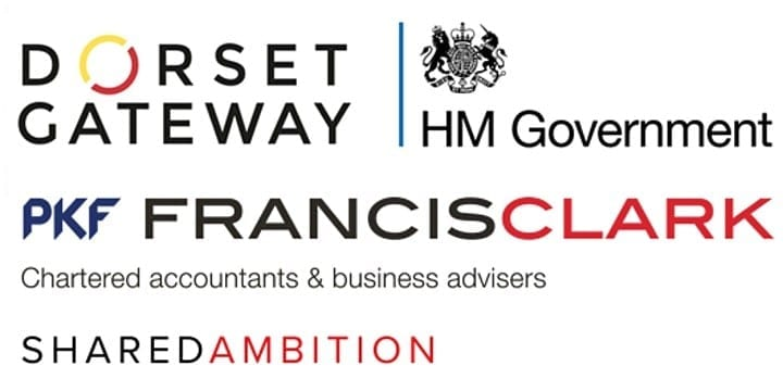 dorset gateway, hm government and francis clark logos