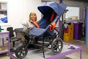 Delichon's customer services manager Ingrid Dutton inspects one of the company's buggies