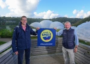 Tom Roach, partner at PKF Francis Clark, and Malcolm Bell, chief executive of Visit Cornwall, launching the Share a Smile campaign at the Eden Project